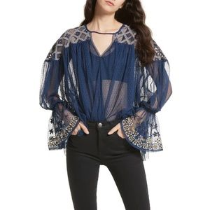 Free People Joyride Sheer Embroidered Ruffle Top
